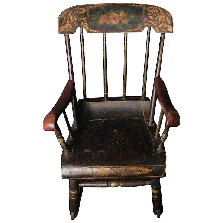 Antique Child's Rocking Chair Roses & Stenciled 19th C. Boston Rocker Hand  Painted - Antique Child's Rocking Chair Roses & Stenciled 19th C. Boston