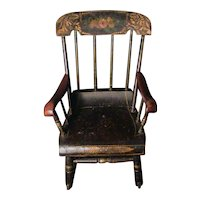 Antique Child's Rocking Chair Roses & Stenciled 19th C. Boston Rocker Hand Painted