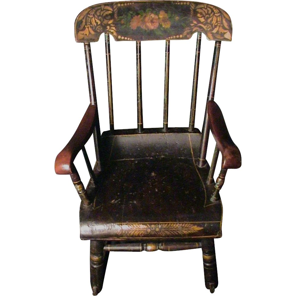 1980s American Furniture Baby Rocking Chair: Antique Child's Rocking Chair Roses & Stenciled 19th C