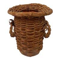Indian Splint and Sweet Grass Basket over Glass Vase Northeast