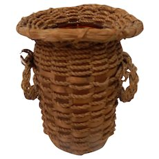 Indian Splint and Sweet Grass Basket over Glass Vase Northeast