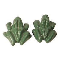 Pair Cast Iron Paper Weight Frogs X Rated Novelty Vintage Original Paint