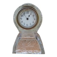 Old New Haven Cut Glass Case Wind Up Clock C.1900