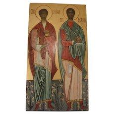 Vintage Hand Painted Icon of Saints Greek Orthodox