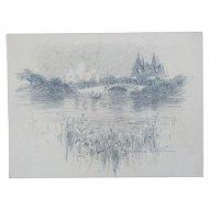 Frederic Dorr Steele Original Signed Pencil Drawing Landscape