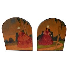 Vintage Hand Painted Wooden Bookends Elegant Ladies C.1940's