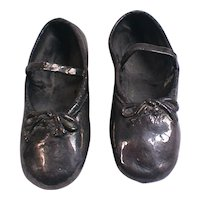 Silvered Little Girl's Ballet Shoes Pair Silverplated Slippers