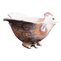 Studio Pottery Bird Bowl Signed Redware Hand Made