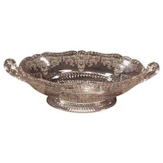 Large Cambridge Glass Valencia Etched Crystal Handled Low Compote Bowl