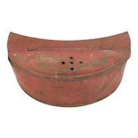Antique Fishing Red Tin Bait Box with Belt Loops