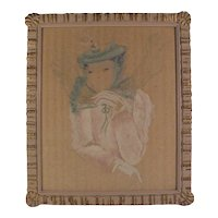 Vintage Painting Gouache Watercolor Fashion Illustration Beautiful Young Woman