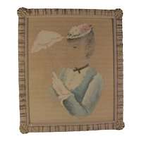 Vintage Painting Gouache Watercolor Fashion Illustration Beautiful Young Woman with Parasol