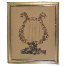 hold for RS Antique Folk Art Moss & String Musical Harp in Lemon Gold Gilt Frame