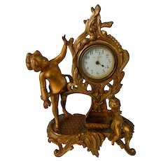 Antique New Haven Mantle Clock with Art Nouveau Gold Figural Case As Is