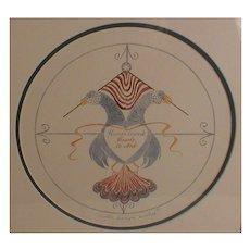 American Folk Art Karlyn Cauley Original Watercolor Double Eagles Painting