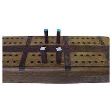 """Huge 24.5"""" Vintage Inlaid Wooden Cribbage Board Oak & Walnut"""