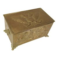 Brass Box Tin Liner Embossed Lions Heraldic Shield Double Headed Eagles C.1860