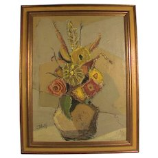 Floral Still Life Oil Painting Signed Modern Abstract Cubist Impasto
