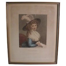 "18th Century Georgian English Mezzotint print Portrait ""The Reverie"" Proof Edition"