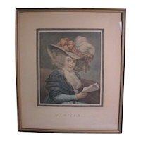 "18th Century English Color Mezzotint Portrait print ""Mrs Mills"""