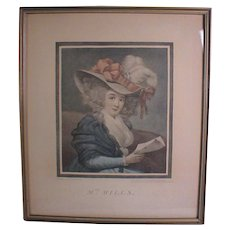 "18th Century English Color Mezzotint Portrait print ""Mrs Mills"""