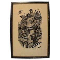 Agnes Miller Parker Original Wood Engraving  Bathsheba - Far From the Maddening Crowd, Pencil Signed