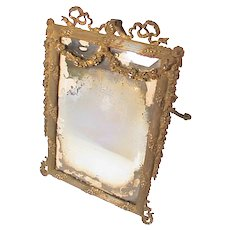 Antique Victorian Ornate Cast Iron Vanity Easel Mirror