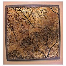 Djordje Skendzic Photograph on Gold Leaf of Trees Dated '04 NYC
