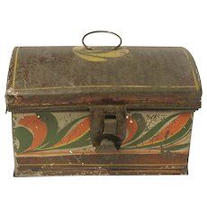 Small Tin American Toleware Box C.1840 Folk Art