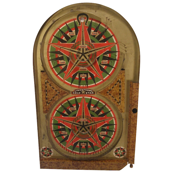 Vintage 1934 Lindstrom's Gold Star Marble Pinball Game Tin & ...