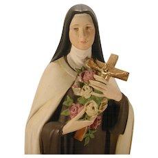 "Large 24"" Plaster Religious Statue St. Therese Chalkware Vintage Catholic"