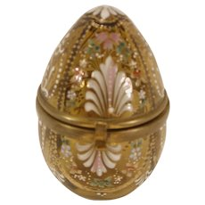 Antique Bohemian Glass Enamel Jewelry Box Casket Egg Shape