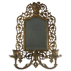RESERVED - Ornate Bradley & Hubbard Candle Sconce Beveled Mirror Bacchus