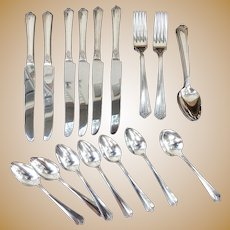 "25 pc Silver Plated Silverware Set - ""Courtney"" by Simeon L & George W Rogers Co A1+ Oneida LTD"