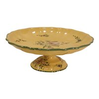 Cantagalli Italy Pottery Compote Yellow Hand Painted Flowers