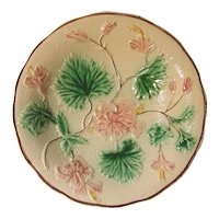 Small Victorian Majolica Bowl with Leaves & Flowers