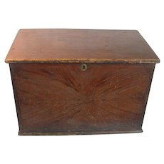 C.1840 Paint Decorated Pine Blanket Chest Box Grain Flame Painted