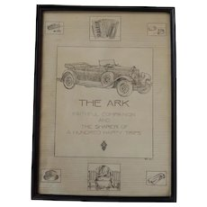 Original 1920's Automobile Roadster Pen and Ink Drawing Dated 1936