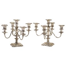 Antique Pair Silver Plate 5 Light Candelabra Candlesticks Wilcox Silverplate Co., as is