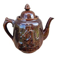 C.1860 Rockingham Bennington Glaze China Man Teapot