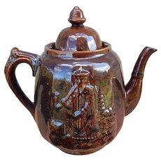 C.1860 Rockingham Bennington Glaze China Man Teapot