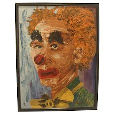 Mid Century Modern Sad Clown Painting Signed  Original Vintage