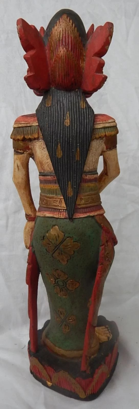 Bali Wood Carving Painted Figure Statue Goddess Indonesian Balinese Ago Ruby Lane