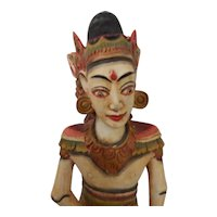 Bali Wood Carving Painted Figure Statue Goddess Indonesian Balinese 16""