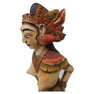 """Bali Wood Carving Painted Figure Statue Goddess Indonesian Balinese 14"""""""