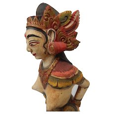 Bali Wood Carving Painted Figure Statue Goddess Indonesian Balinese 14""