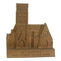 St. George Church Springfield, MA Doorstop Bronze Vintage