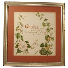 C.1860 Christian Watercolor Motto Tis the Birthday of a King