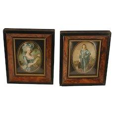 Pair Vintage Miniature Faux Burl Wood Frames Painted