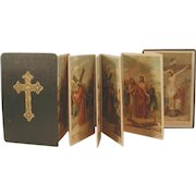 Antique French Catholic Stations of the Cross Booklet Color Lithographs C.1880